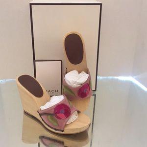 COACH Melaney Wedge Sandals Wooden Slides Sz 8